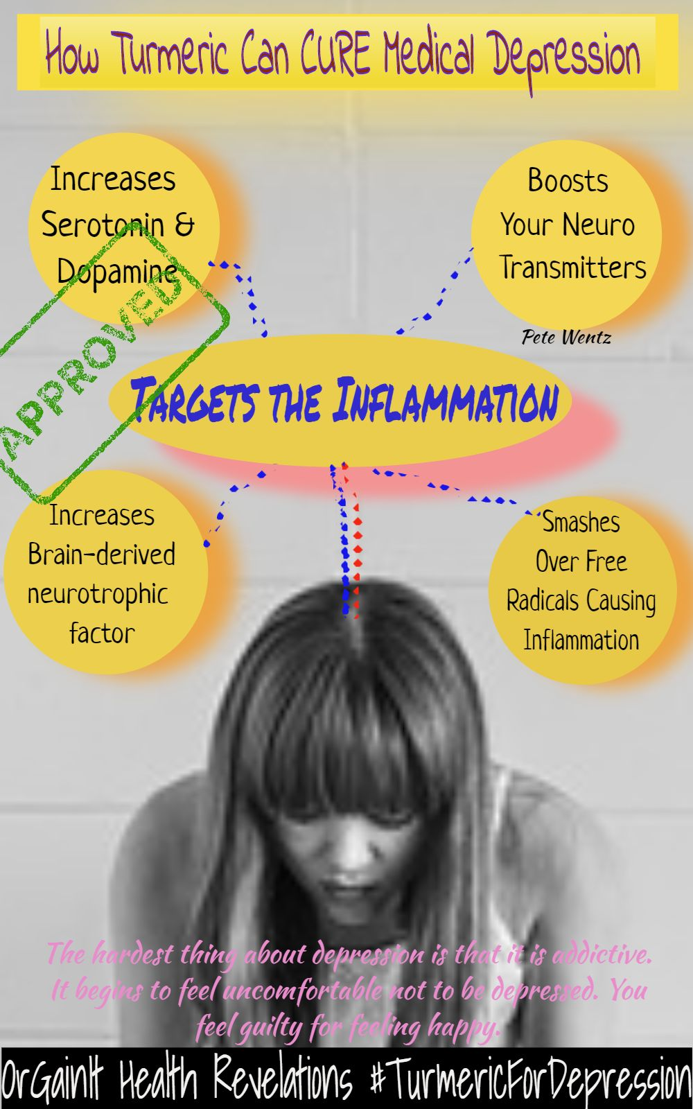 Infographic of how turmeric curcuminoids work 5 ways to combat depression