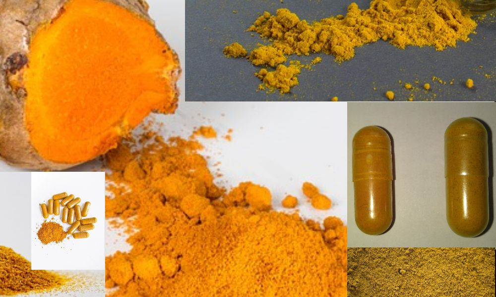 Show casing a collage of differentiating turmeric and curcumin by color and adulteration